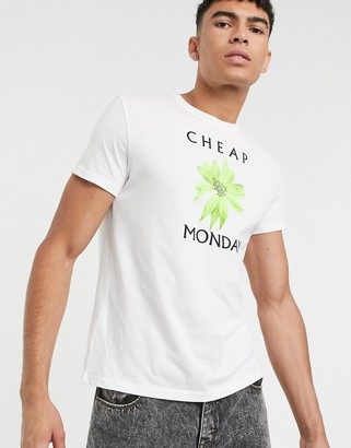 Cheap Monday t-shirt with flower chest print in white