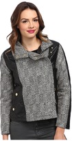 KC Collections Lurex Herringbone Faux Leather Trim Jacket