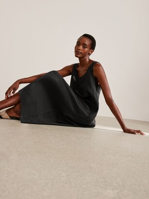 John Lewis & Partners Scoop Back Linen Dress, Black