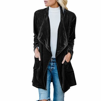 Tuduz Outerwear Womens Lapel Jacket TUDUZ Ladies Drape Velvet Cardigan Coat Plain Open Front Outwear with Pockets(Black S=UK(XS))