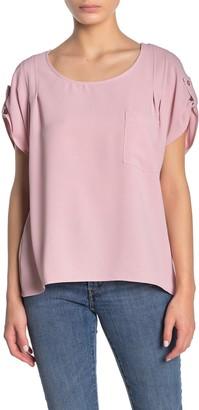 MelloDay Pocket Short Sleeve Blouse (Petite)