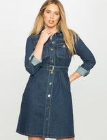 ELOQUII Plus Size Belted Denim Shirt Dress