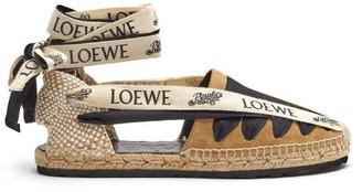 Loewe Paula's Ibiza - Logo-print Tie Suede & Jute Espadrilles - Tan