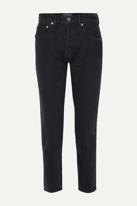 A Gold E Agolde AGOLDE - Jamie Distressed Organic High-rise Straight-leg Jeans - Black
