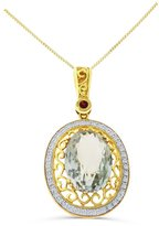 Rendez Vous Jewelry 6.46CTW 14K Yellow Gold Genuine Amethyst and Diamond Pendant / Enhancer With Square Box Chain