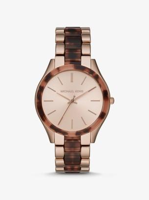 Michael Kors Oversized Slim Runway Rose Gold-Tone and Acetate Watch