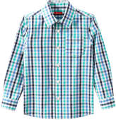 Joe Fresh Kid Boys' Plaid Button Front Shirt, Aqua (Size M)