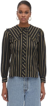 Ganni Wide Collar Striped Viscose Shirt