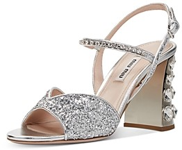Miu Miu Women's Glitter Crystal Embellished Block Heel Sandals