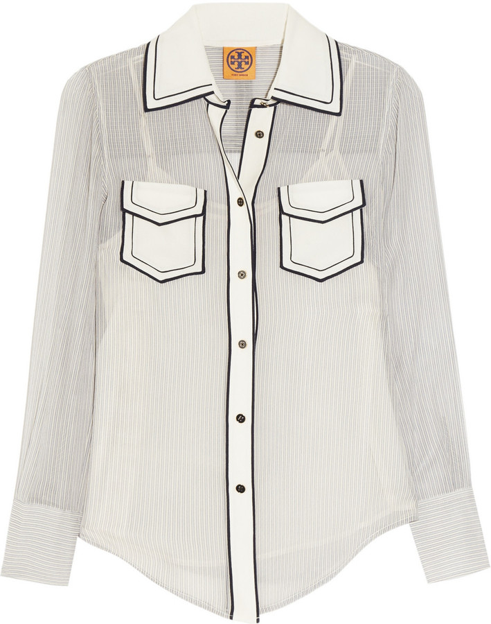 Tory Burch Margee Oxford-striped silk-georgette shirt