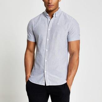 River Island Mens Maison Riviera Grey stripe Oxford shirt