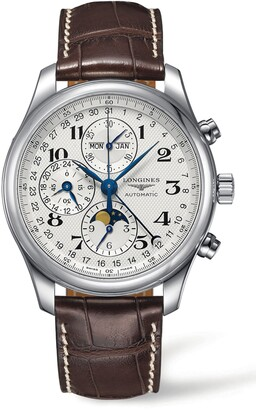 Longines Master Automatic Chronograph Leather Strap Watch, 42mm