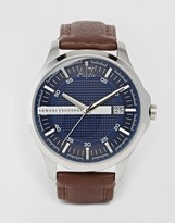 Armani Exchange Brown Leather Strap Watch Ax2133