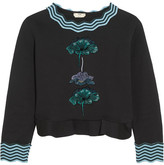 Fendi Embroidered Flocked Cotton-blend Peplum Sweatshirt - Black