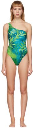 Versace Underwear Green Jungle Print One Shoulder One-Piece Swimsuit