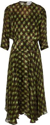 Preen by Thornton Bregazzi Brooke checked chiffon midi dress