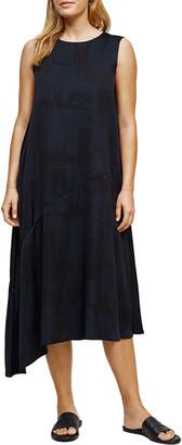 Eileen Fisher Brushstroke Silk-Organic Cotton Asymmetrical Dress