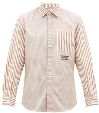 Burberry Crayes Patchwork-striped Cotton-poplin Shirt - Beige Multi