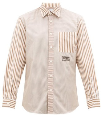 Burberry Crayes Patchwork-striped Cotton-poplin Shirt - Mens - Beige Multi