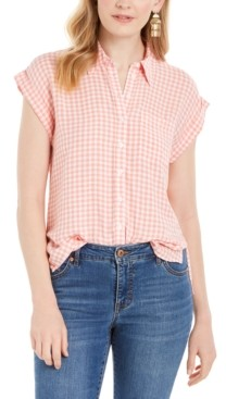 Style&Co. Style & Co Gingham-Print Camp Shirt, Created for Macy's