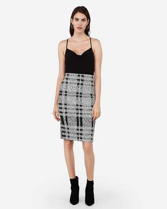 Express High Waisted Embossed Plaid Pencil Skirt