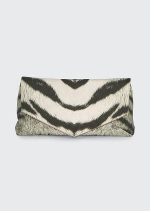 Dries Van Noten Zebra-Printed Rayon Envelope Clutch Bag