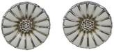 Georg Jensen 925 Sterling Silver Daisy White Enamel Earrings