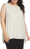 Eileen Fisher Bateau Neck Long Silk Shell