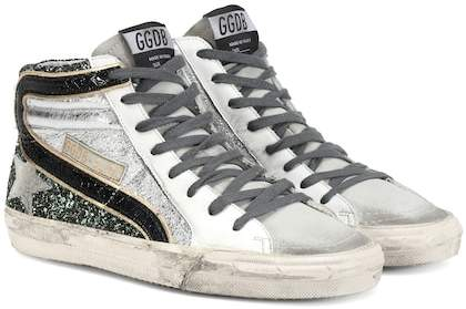 Golden Goose Slide glitter and leather sneakers