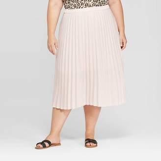 Ava & Viv Women's Plus Size Midi Pleated Skirt