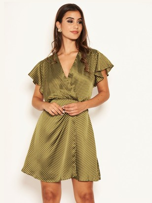 AX Paris Printed Polka Dot Satin Dress - Olive