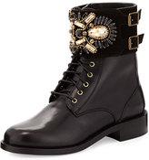 Rene Caovilla Crystal-Cuff Leather Boot, Black