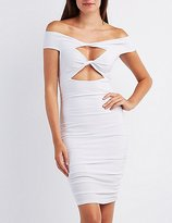 Charlotte Russe Off-The-Shoulder Ruched Cut-Out Dress