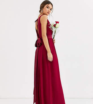 TFNC Bridesmaid maxi dress with satin bow back in mulberry-Red
