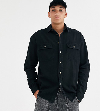 Asos DESIGN Tall oversized organic denim shirt with double pockets in black