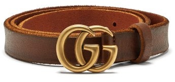 Gucci Gg Logo 2cm Leather Belt - Womens - Tan