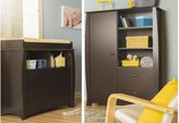 South Shore Furniture Beehive Changing Table with Removable Changing Station and Armoire with Drawers, Espresso