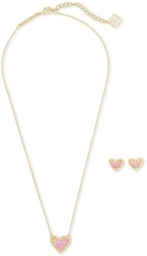 Kendra Scott Illusion Stone Heart Pendant Necklace & Stud Earrings Set