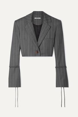 Orseund Iris Box Cropped Pinstriped Wool-blend Blazer - Gray