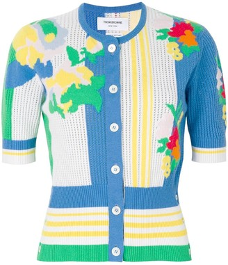 Thom Browne Vertical Stripe Floral Intarsia Short Sleeve Crew Neck Cardigan In Cashmere