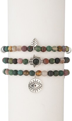 Eye Candy Los Angeles Green Agate 3-Piece Evil Eye Hamsa Bracelet Set
