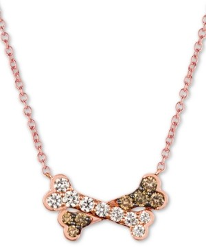 "LeVian Le Vian I Love Dogs Collection 20"" Pendant Necklace (3/4 ct. t.w.) in 14k Rose Gold"