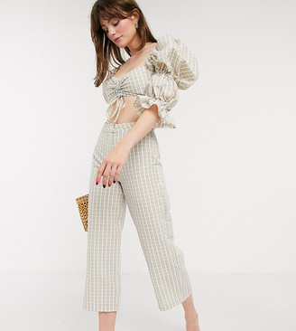 ASOS DESIGN Petite seersucker pant in white and beige