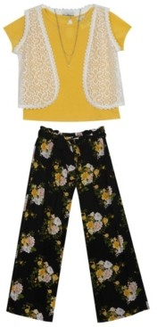 Rare Editions Big Girls Rib Knit top with Vest and Floral Pants, Set of 3