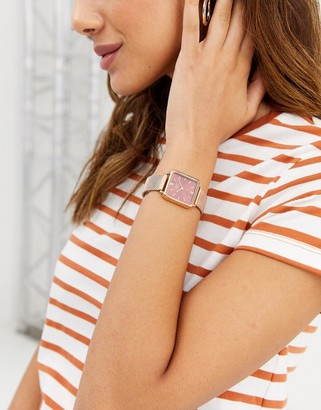 Limit mesh watch in rose gold with square dial