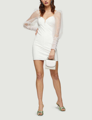 Topshop Organza-sleeve crepe mini dress