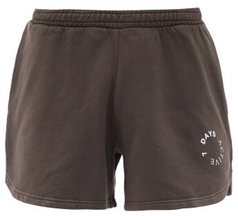 7 DAYS ACTIVE Logo-print Cotton-jersey Shorts - Brown