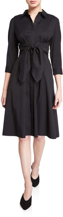 Lafayette 148 New York Mariel Tie-Waist Cotton Shirtdress