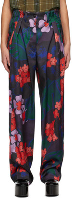 Dries Van Noten Purple and Red Floral Trousers
