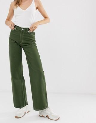 Monki Yoko wide leg jeans with organic cotton in khaki